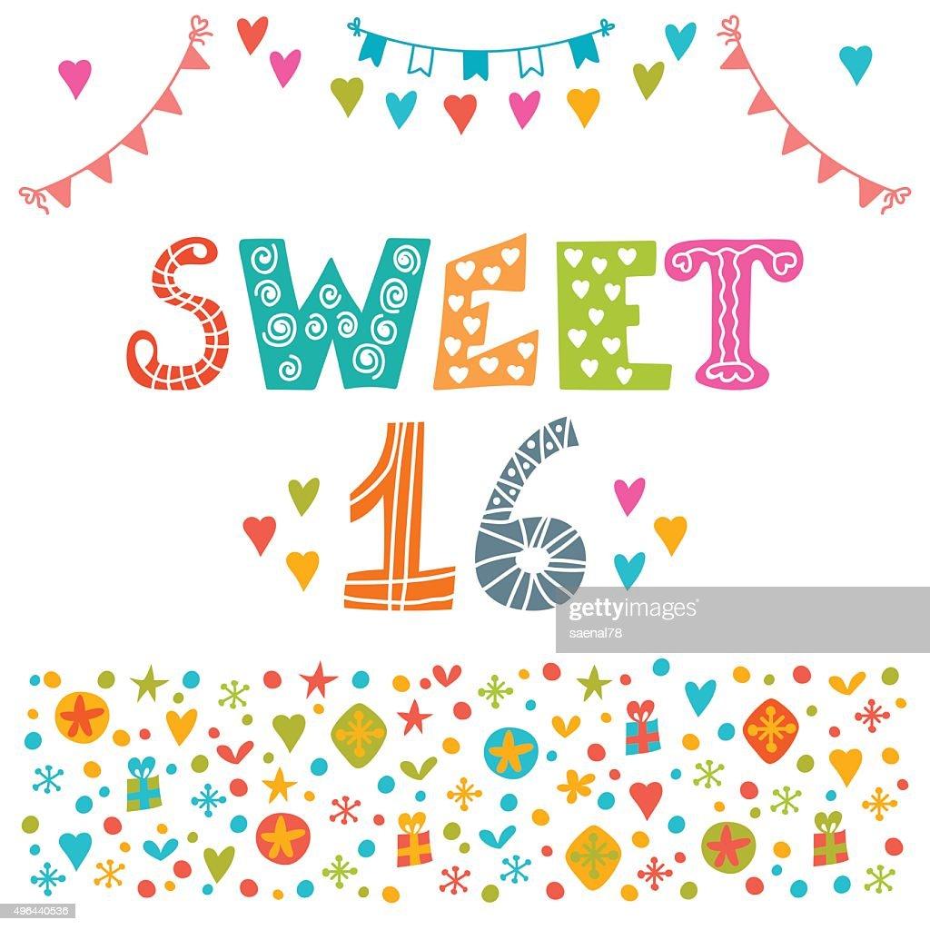 Sweet sixteen. Invitation flyer template design. Cute