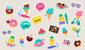 Sweet summer - cute ice cream, watermelon and donuts sticker illustrations, vector design