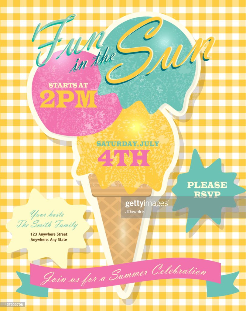 Sweet summer party template invitation design with ice cream cone : stock illustration