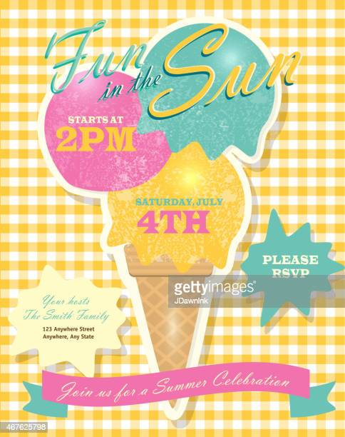 Sweet summer party template invitation design with ice cream cone
