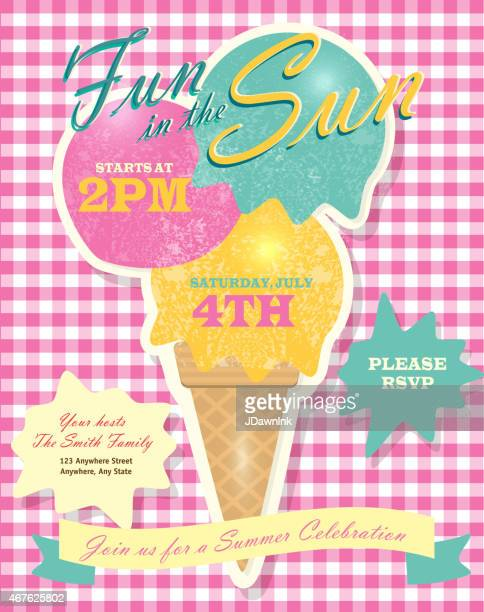 sweet summer party template invitation design with ice cream cone - scoop shape stock illustrations, clip art, cartoons, & icons
