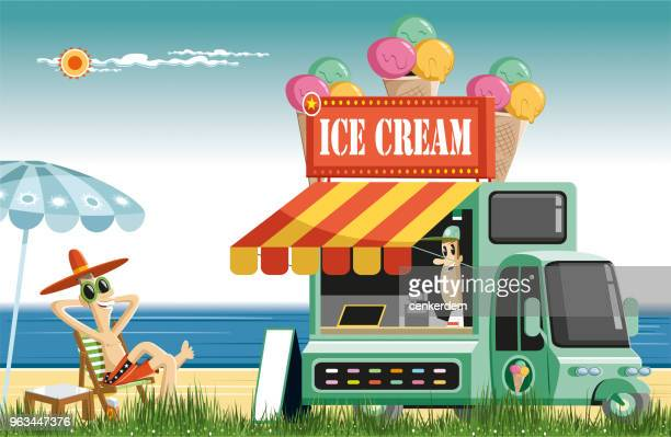 sweet summer time and ice cream - waffle stock illustrations, clip art, cartoons, & icons