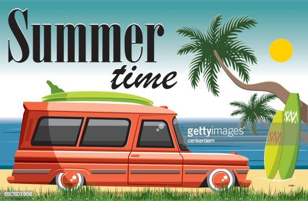 sweet summer time - beach holiday stock illustrations, clip art, cartoons, & icons