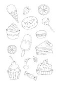 Sweets and desserts coloring page