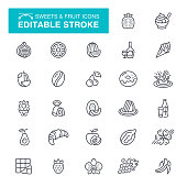Sweets and Fruit Editable Stroke Icons