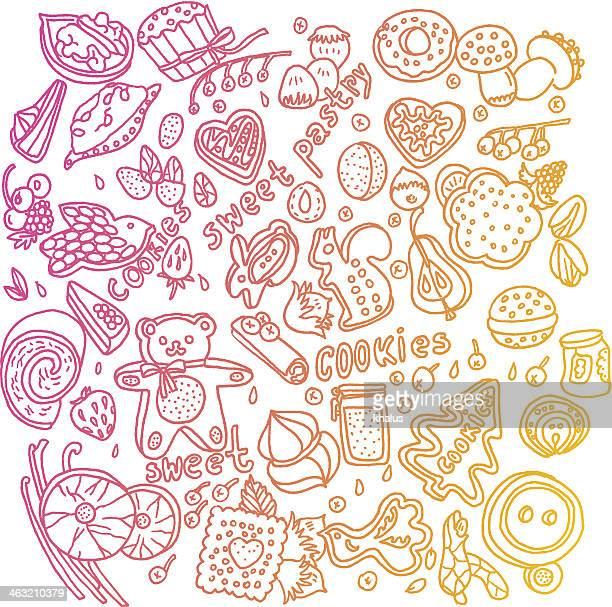 sweets background - gelatin dessert stock illustrations, clip art, cartoons, & icons