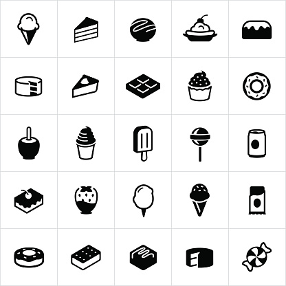Sweets, Candy and Desserts Icons - gettyimageskorea
