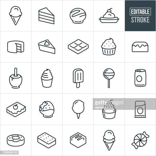 ilustrações de stock, clip art, desenhos animados e ícones de sweets, candy and desserts thin line icons - editable stroke - caramelo de manteiga comida doce