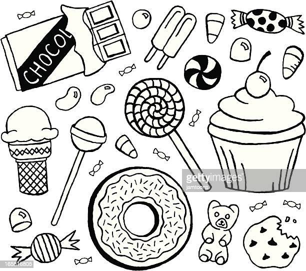sweets doodles - donut stock illustrations, clip art, cartoons, & icons