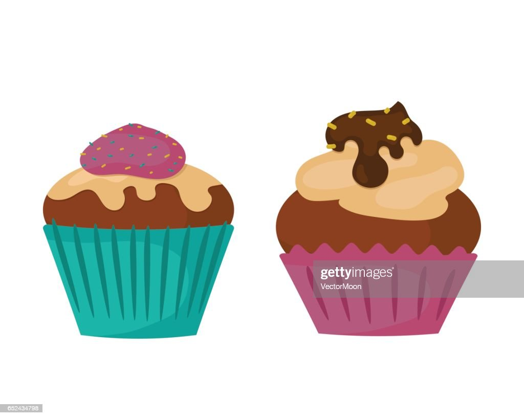 Sweets food bakery dessert sugar confectionery teal birthday cupcake with butter cream icing design and snack chocolate cake holiday candy caramel icon vector illustration