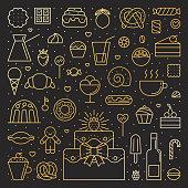Sweets gold square illustration. Simple outline design.