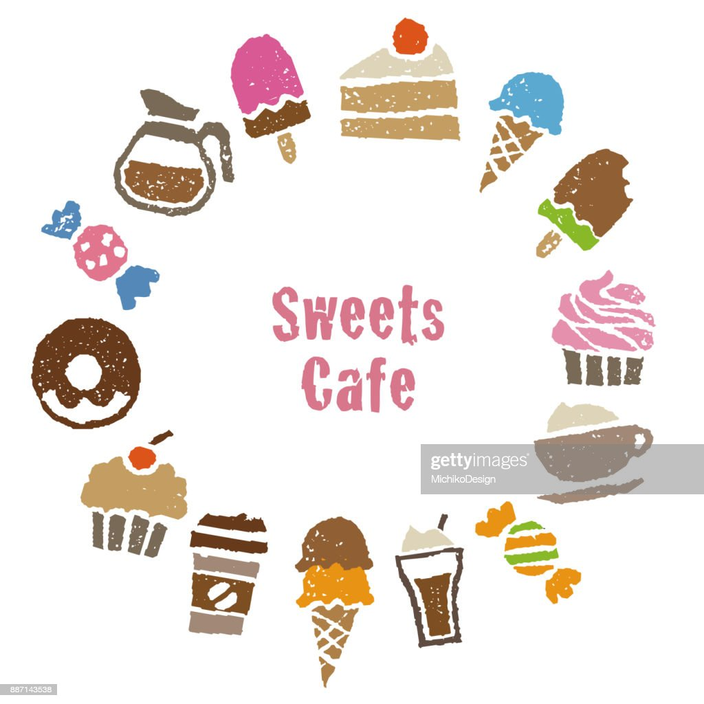 Sweets greeting card with sweets and coffee