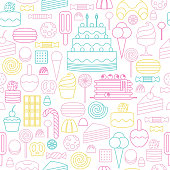 Sweets icons outline style seamless background