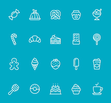 Sweets - line icon set - gettyimageskorea