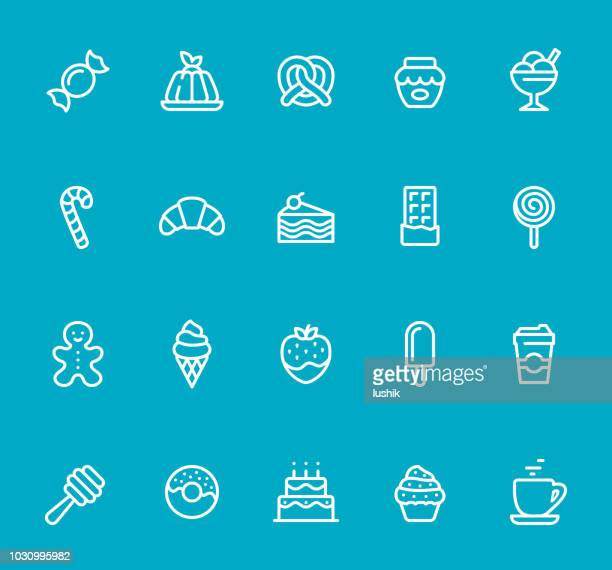 sweets - line icon set - gelatin dessert stock illustrations, clip art, cartoons, & icons