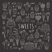 Sweets set vector line icons hand drawn doodle.
