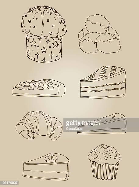 illustrazioni stock, clip art, cartoni animati e icone di tendenza di dolci - panettone