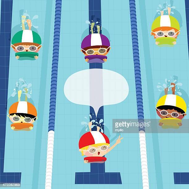 swim race. kids swimming. illustration vector cartoon - swimming stock illustrations