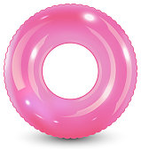 Swim ring. Inflatable rubber toy. Realistic summertime illustration. Summer vacation or trip safety item. Top view swiming circle for ocean, sea, pool.
