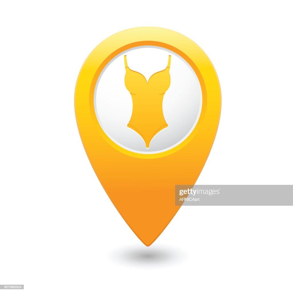 Swim suit icon on map pointer