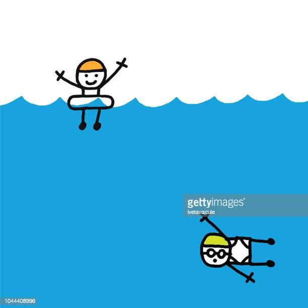 illustrations, cliparts, dessins animés et icônes de nageur et plongeur - bouée gonflable