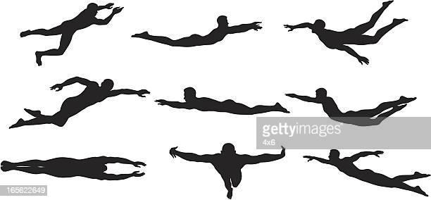 ilustraciones, imágenes clip art, dibujos animados e iconos de stock de nadador sihouettes - natación