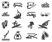 Swimming and scuba diving icons