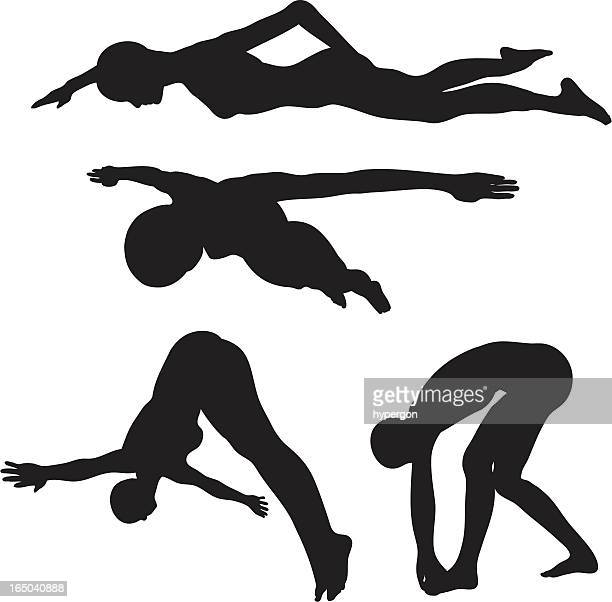Swimming - Diving Silhouette collection (vector+jpg)