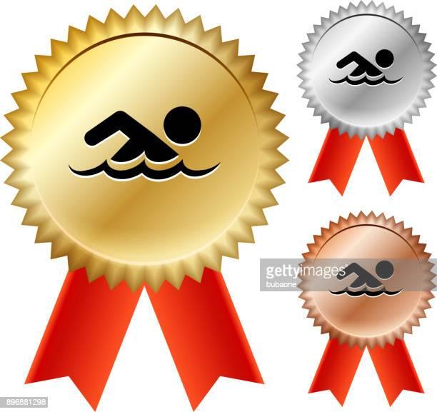 ilustrações, clipart, desenhos animados e ícones de fitas de prêmio medalha de ouro de natação - segundo tempo esporte