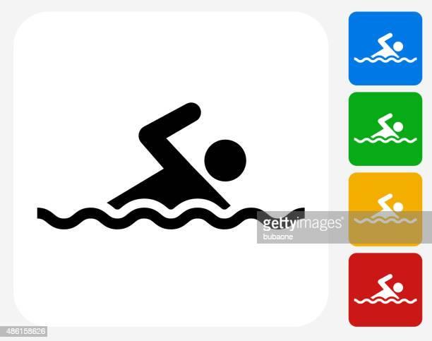 swimming icon flat graphic design - swimming stock illustrations, clip art, cartoons, & icons