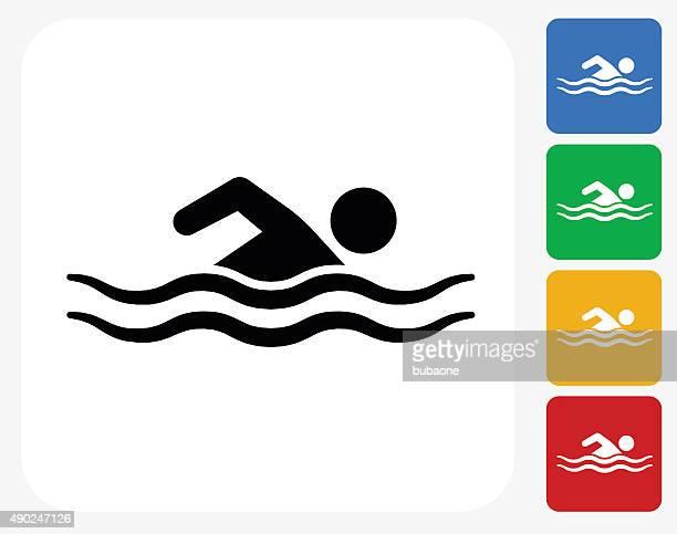 Swimming Icon Flat Graphic Design