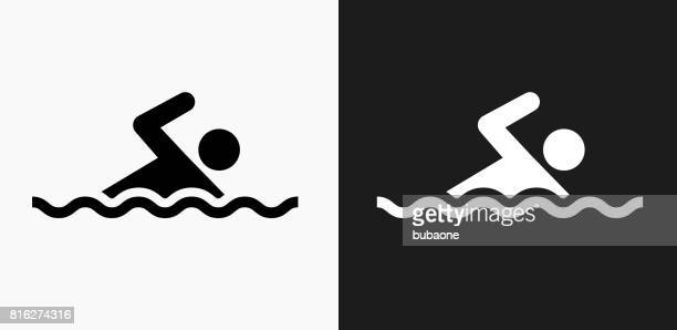 swimming icon on black and white vector backgrounds - sport set competition round stock illustrations