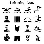 Swimming icon set vector illustration graphic design