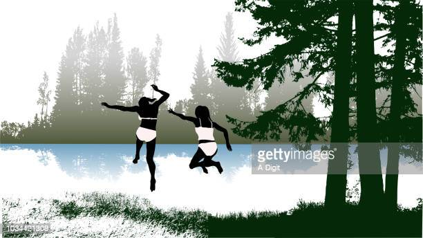 swimming in the lake camping - girlfriend stock illustrations, clip art, cartoons, & icons