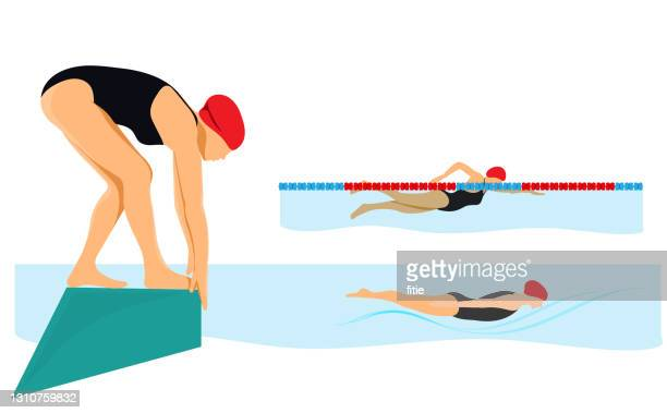 swimming in the pool with  different styles.ready to jumping in the water. - diving sport stock illustrations