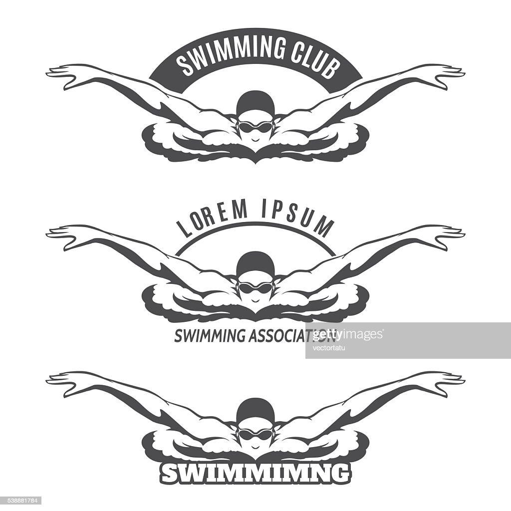 Swimming man on wave logo
