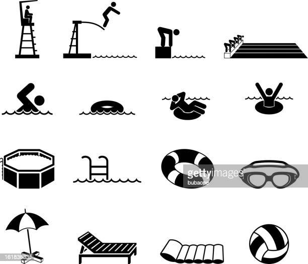 Swimming Pool and summer fun royalty free vector icon set