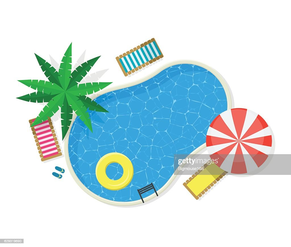 Swimming Pool for Card or Poster. Vector