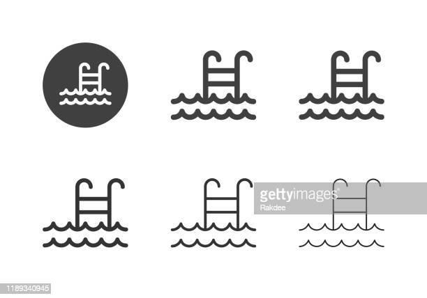 ilustrações de stock, clip art, desenhos animados e ícones de swimming pool icons - multi series - água parada