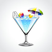 Swimming pool in martini glass vacation concept