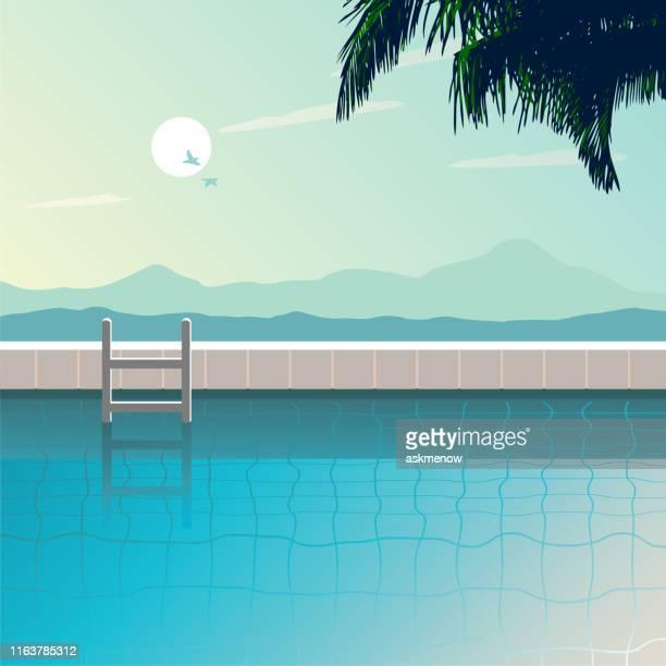 illustrations, cliparts, dessins animés et icônes de piscine en plein air - piscine