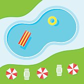 Swimming pool, landscape top view