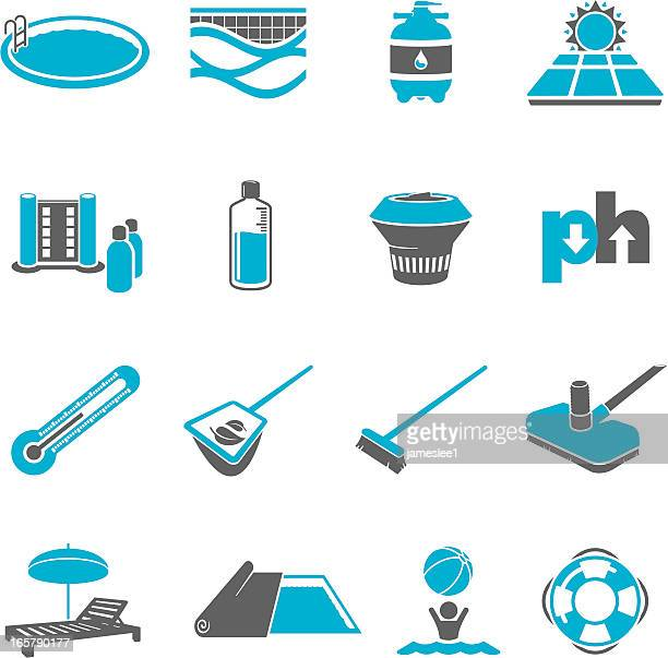swimming pool maintenance icon set - covering stock illustrations, clip art, cartoons, & icons