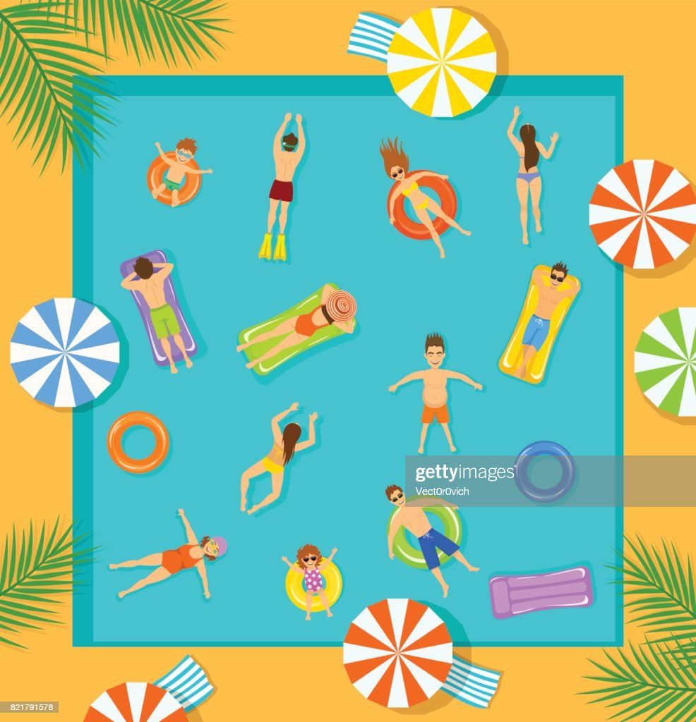 swimming pool top view beach summer time scene with people , men women children swimming, floating on inflatable mattress and rings