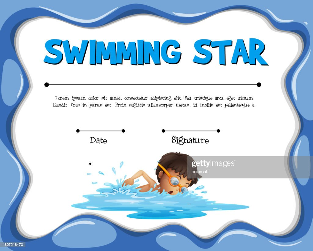 Swimming Star Certification Template With Swimmer Vector Art Getty