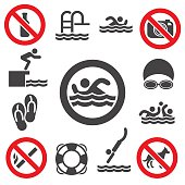 Swimming vector icons