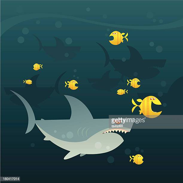 swimming with sharks - agression stock illustrations, clip art, cartoons, & icons
