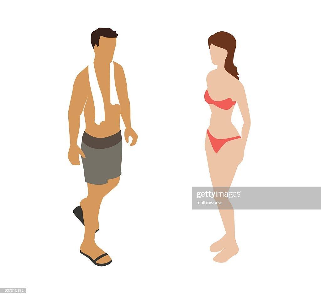 Swimsuit Couple Spot Illustration : Vector Art