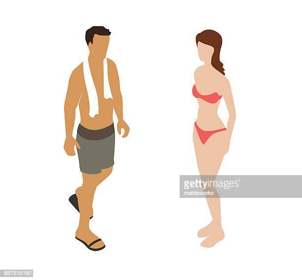ilustrações de stock, clip art, desenhos animados e ícones de swimsuit couple spot illustration - mathisworks