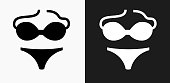 Swimsuit Icon on Black and White Vector Backgrounds